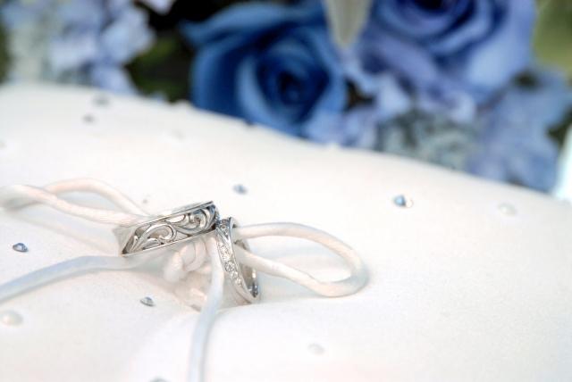 結婚指輪とブルーの花イメージ